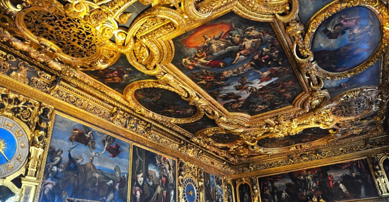 palazzo ducale interior gold ceilings and paintings