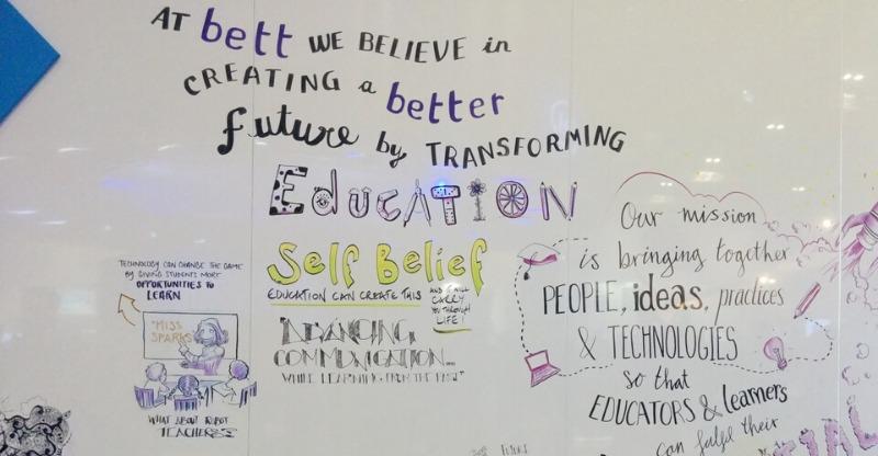 bett conference whiteboard brainstorming ideas