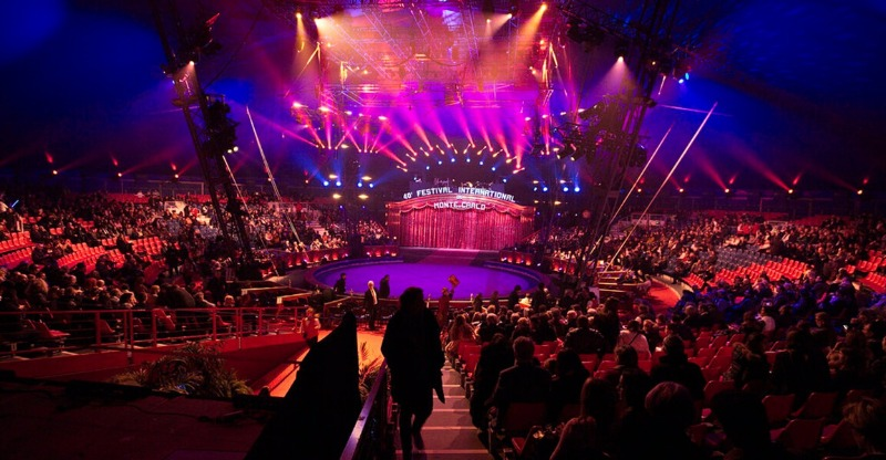 fireworks on stage at monte carlo international circus festival