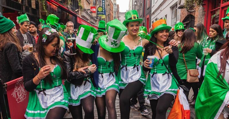 women in st patricks day fancy dress in dublin street