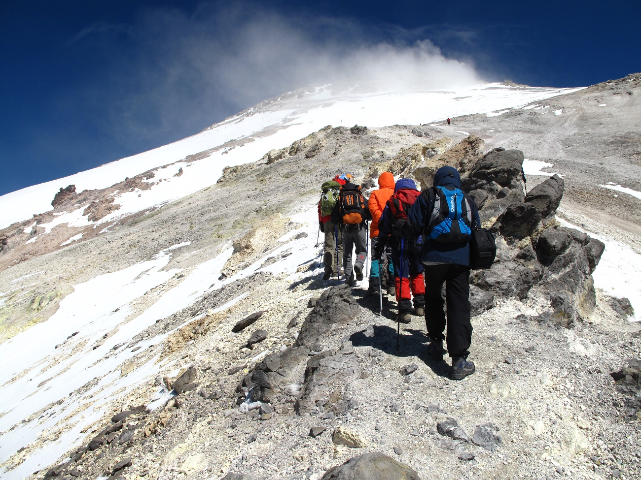 group trekking Iran's highest peak