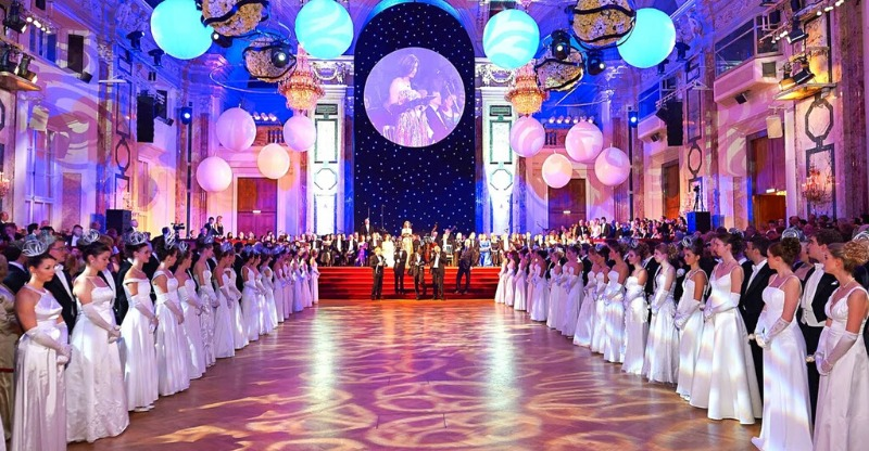 LInes of guests in evening dress at new years ball, vienna
