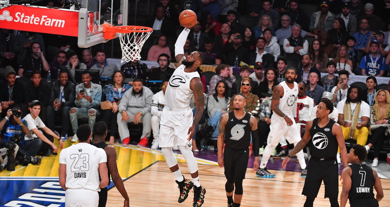Le Bron James scores basket at NBA All Stars Game