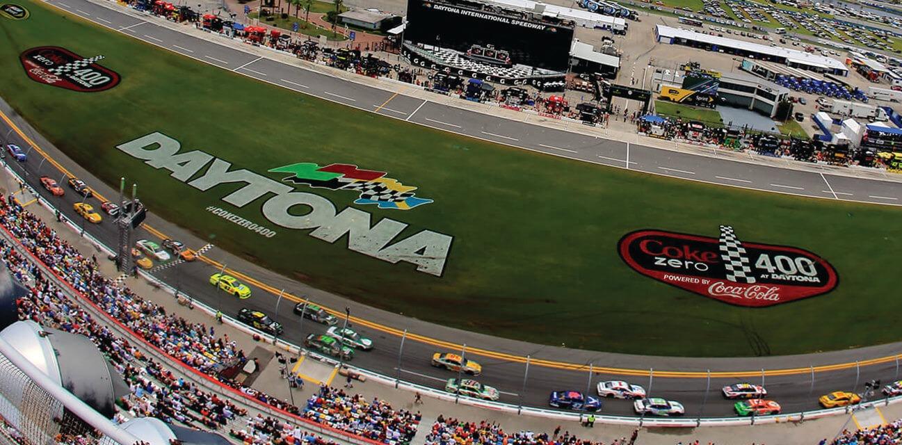Daytona 500 nascar racing aerial view