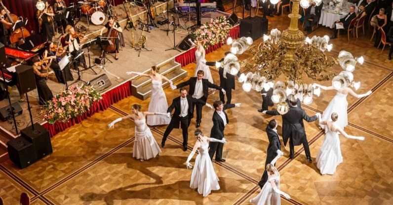 ballroom dancers dancing at new years eve ball, vienna