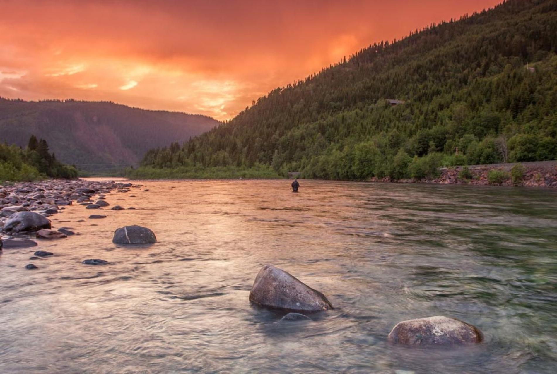 sunset salmon fishing in norway