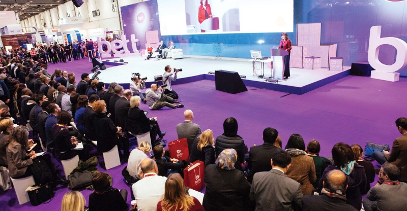 bett conference speaker on stage addressing audience