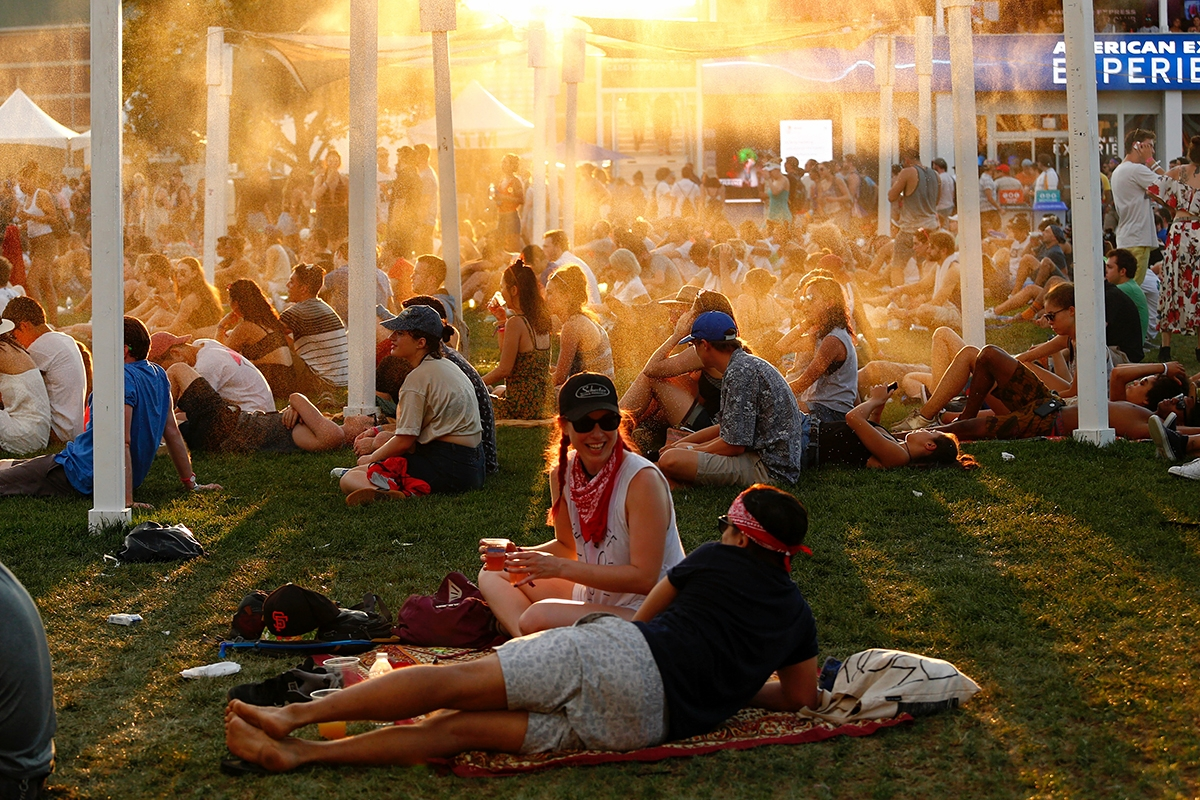 governor's ball at sunset people relaxing in the sun