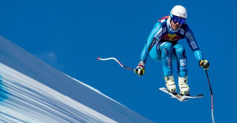 hahnenkamm skier racing closeup