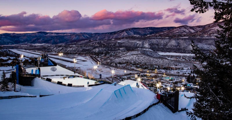 Winter X Games Aspen piste and town at sunset