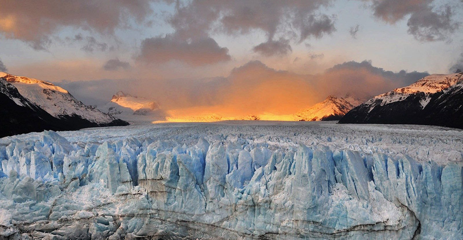patagonia glacier and sunset on camping and photography tour