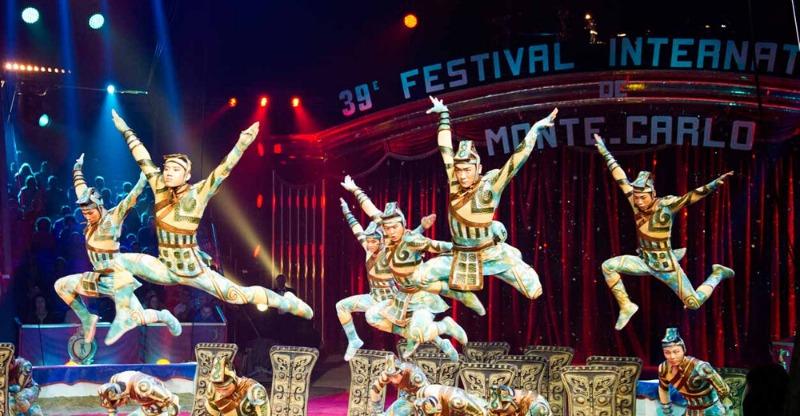 acrobats jumping at monte carlo international circus festival
