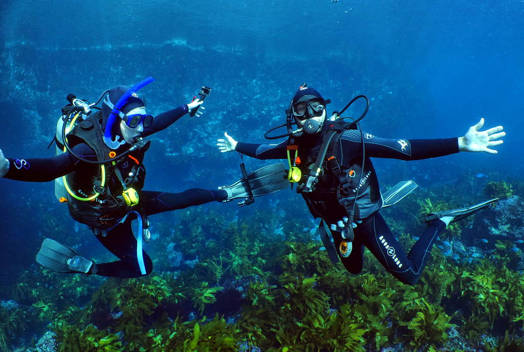 Scuba divers diving white island volcano
