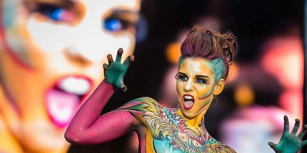 colourful woman at world bodypainting festival