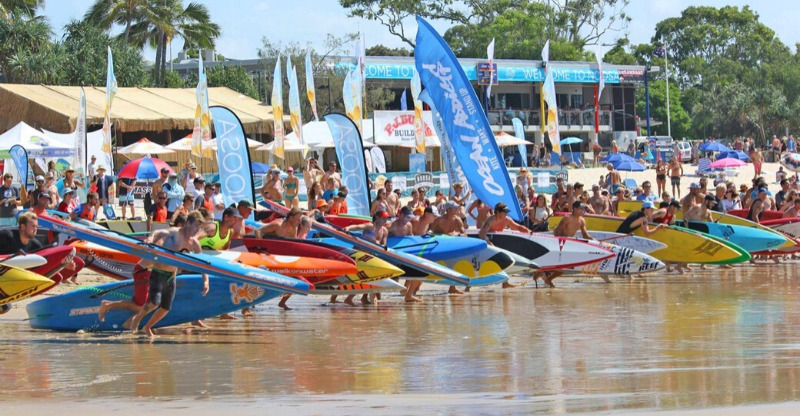Stand Up Paddling race at the Noosa Festival of Surfing