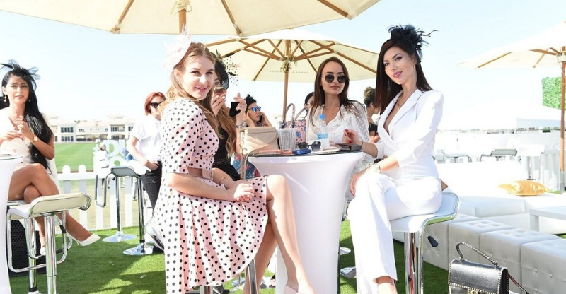 Spectators wining and dining at the Polo Gold Cup Dubai