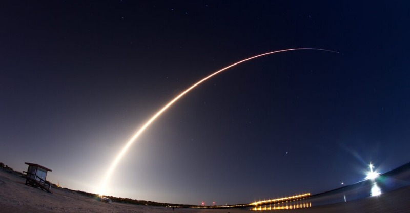 Rocket launch at night