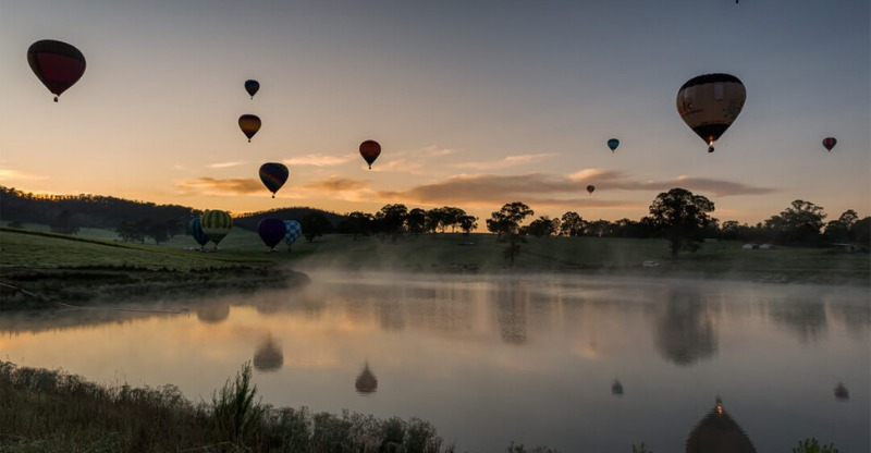 Hot air balloons in Yarra Valley at sunset