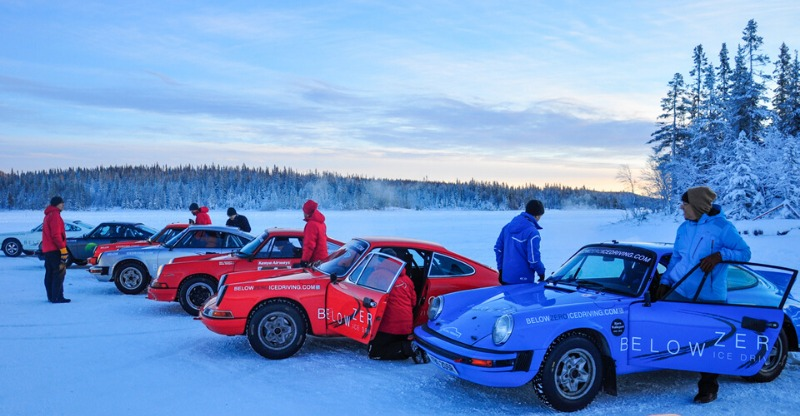 Below Zero Porsches on Ice lined up
