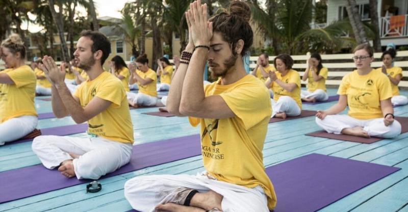 Trainee yoga instructors at the Sivananda Yoga Resort