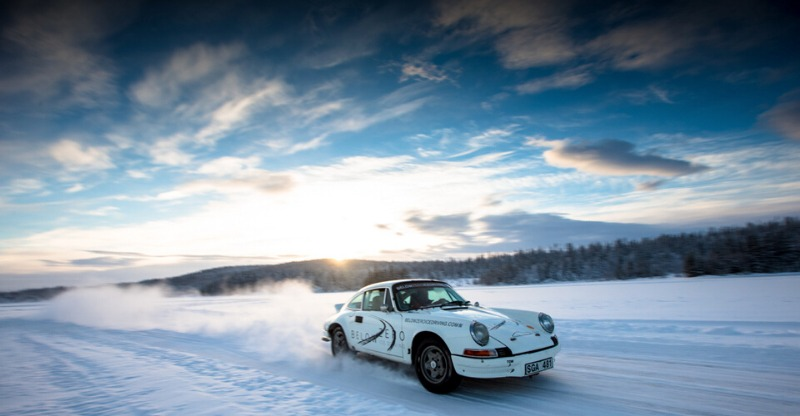 Porsche 911 Driving on Ice