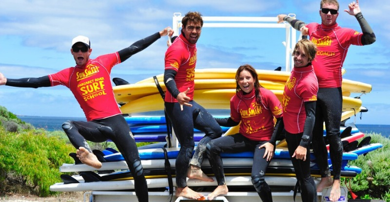 Surfing instructors at the Margaret River Surf School