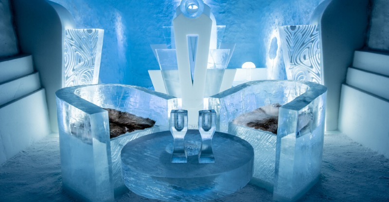 Ice sculpted chairs and tables at the The Original Ice Hotel