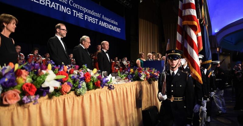 Saluting the flag at the White House Correspondents' Dinner