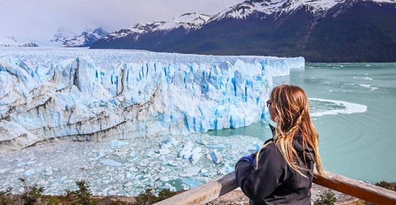 Female overlooking the Perito Moreno Glacier
