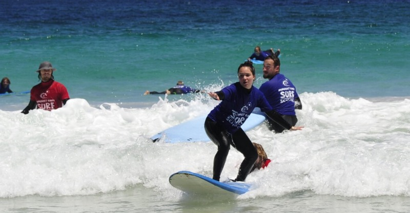 Catching a first wave with the Margaret River Surf School