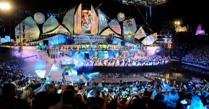 Evening show of dancing and festivities at the Fiesta de la Vendimia