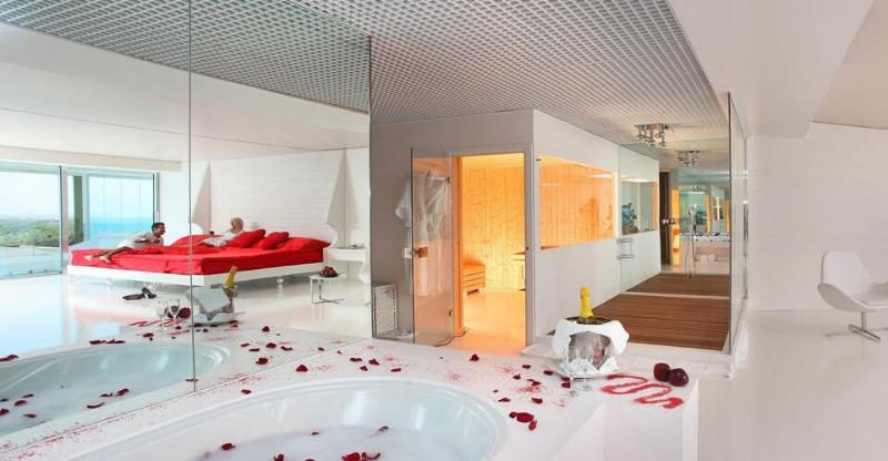 Rose petal bedroom at the Adam & Eve Adults Only Hotel