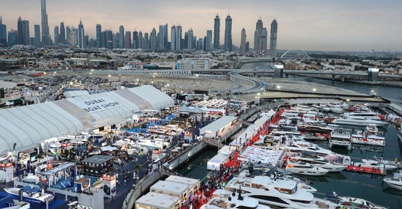 Dubai International Boat show at dusk
