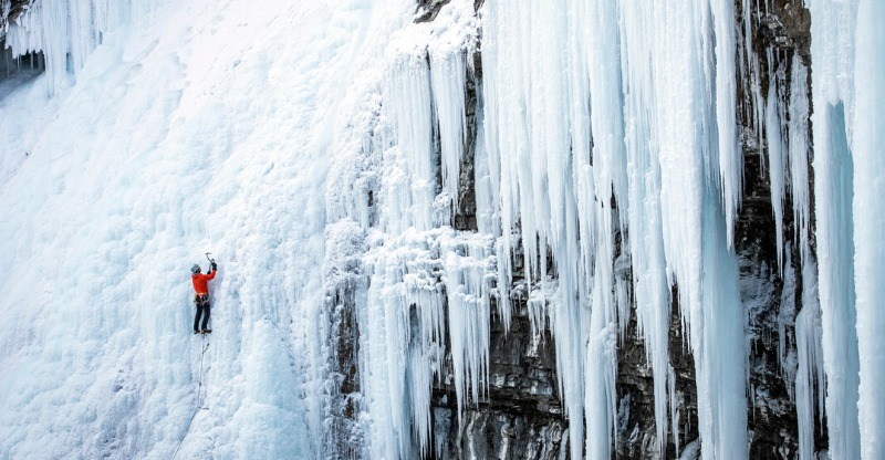 Ice Climb the Rockies scaling a frozen waterfall