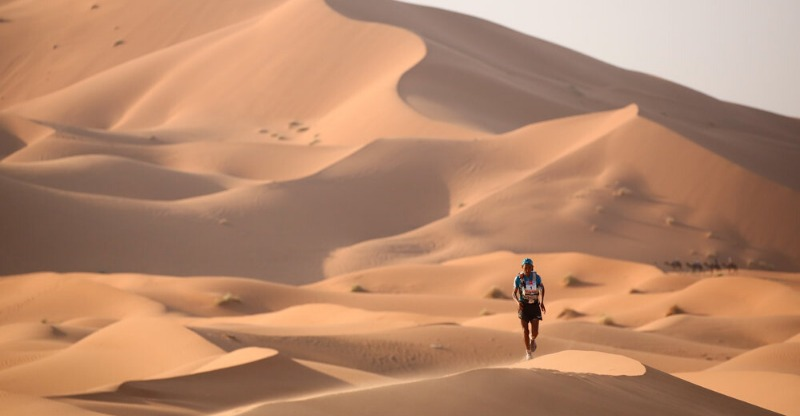Racing amongst the sand dunes of the Marathon des Sables