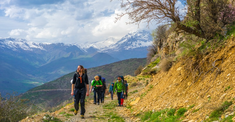 Hiking group on the Iraq Zagros Mountains Expedition