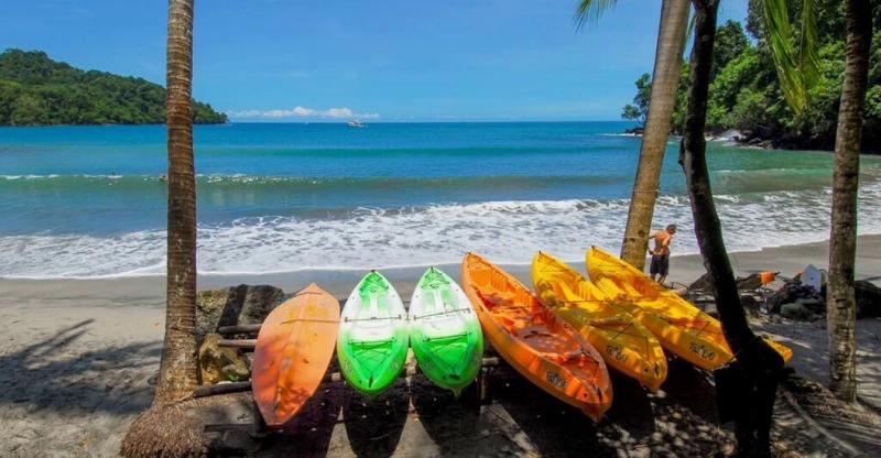 Tulemar Bamboo Villas kayaking on the beach