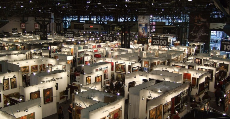 Expansive display of work at the ArtExpo New York