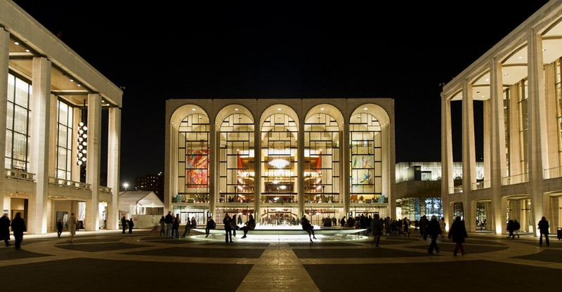 The iconic Metropolitan Opera house lit up at night