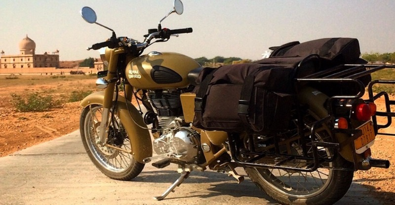 Motorbike rest stop on the Desert Relief Riding Expedition