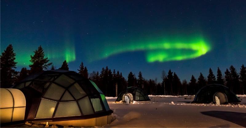 Glass Igloo Beneath The Northern Lights