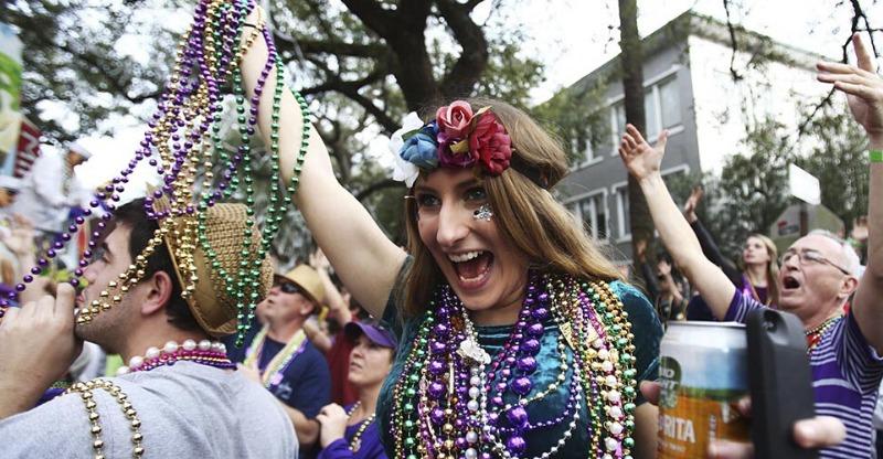 New Orleans Mardi Gras female partygoer