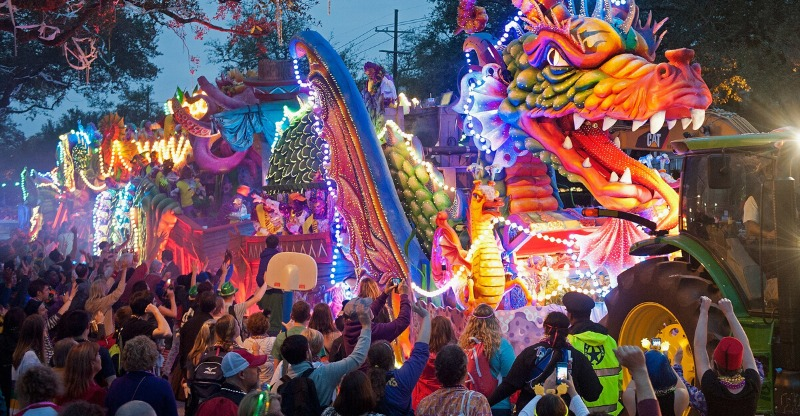 New Orleans Mardi Gras Night floats