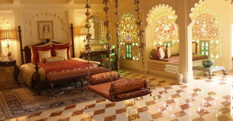 Exquisite bedroom at the Taj Lake Palace Hotel