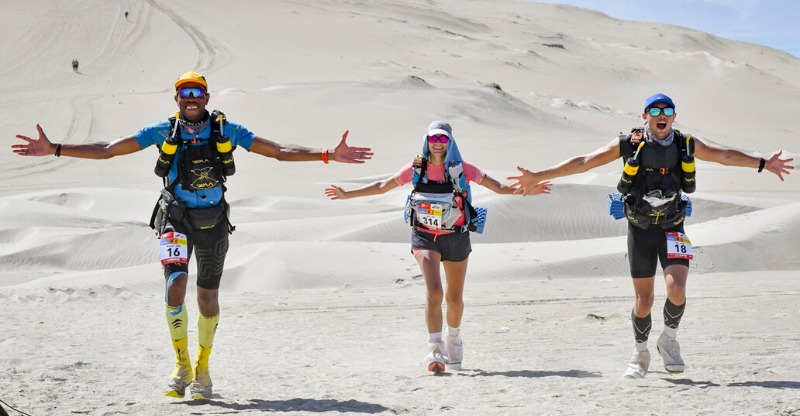 Three friends racing Marathon des Sables