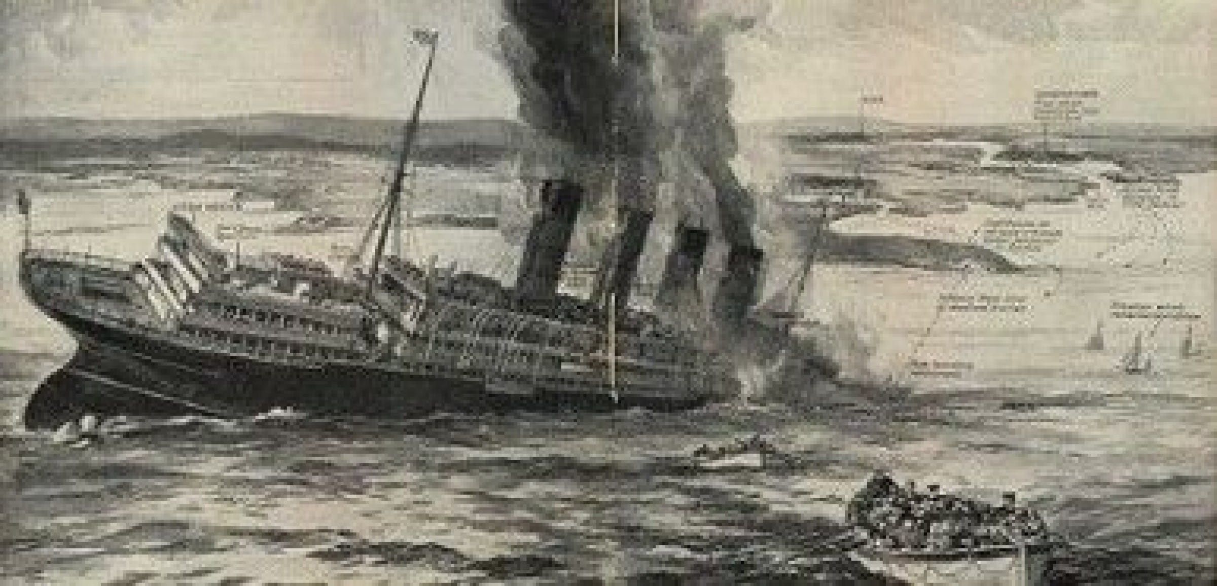 Sinking of The Lusitania (Doomed Lusitania from The Sphere magazine)