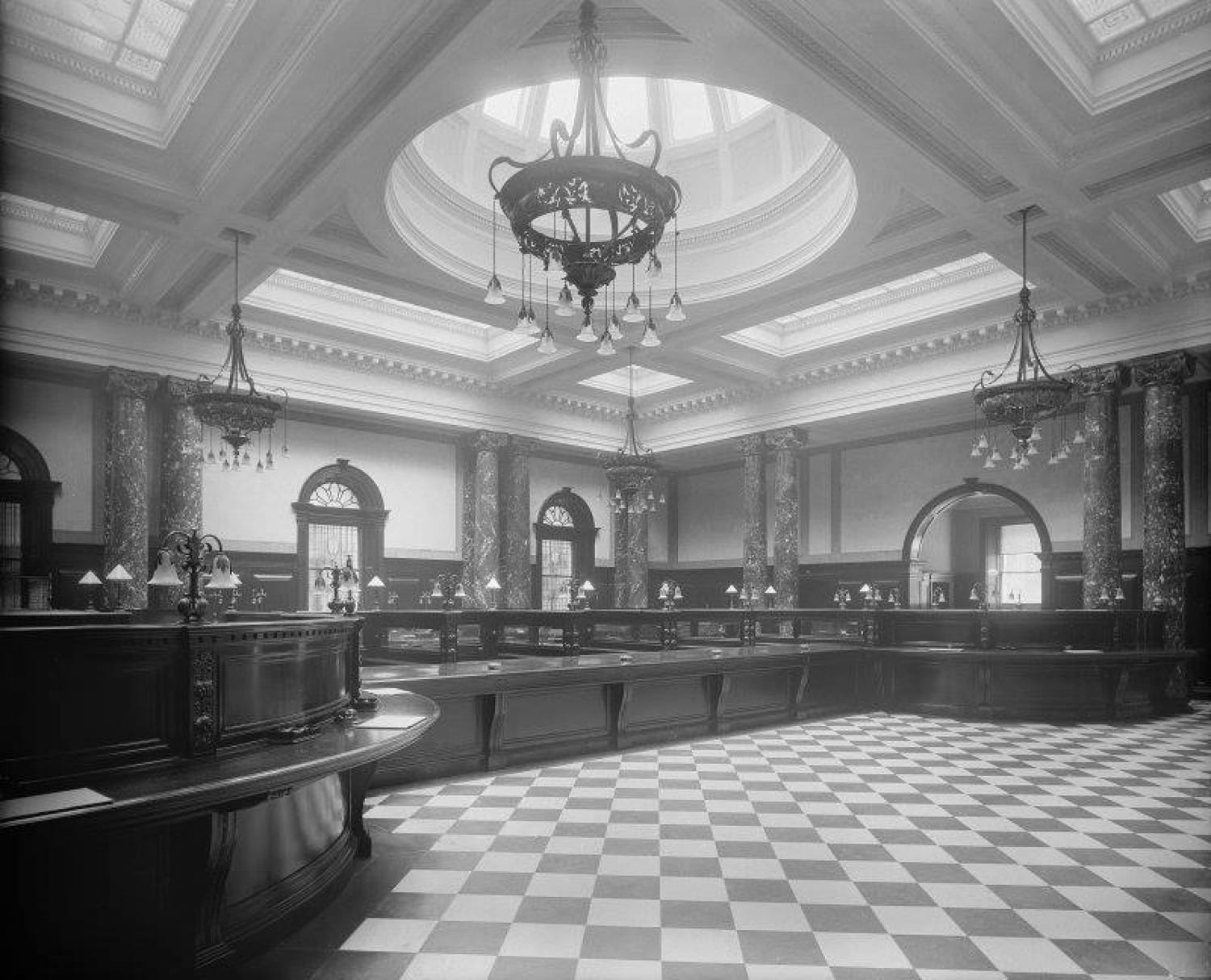 The original banking Hall. RCAHMS