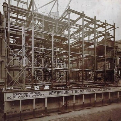Curse of The Northern (The Northern under construction. Note the Mackintosh-style typography used on the hoarding.  Picture: heritage.aviva.com)