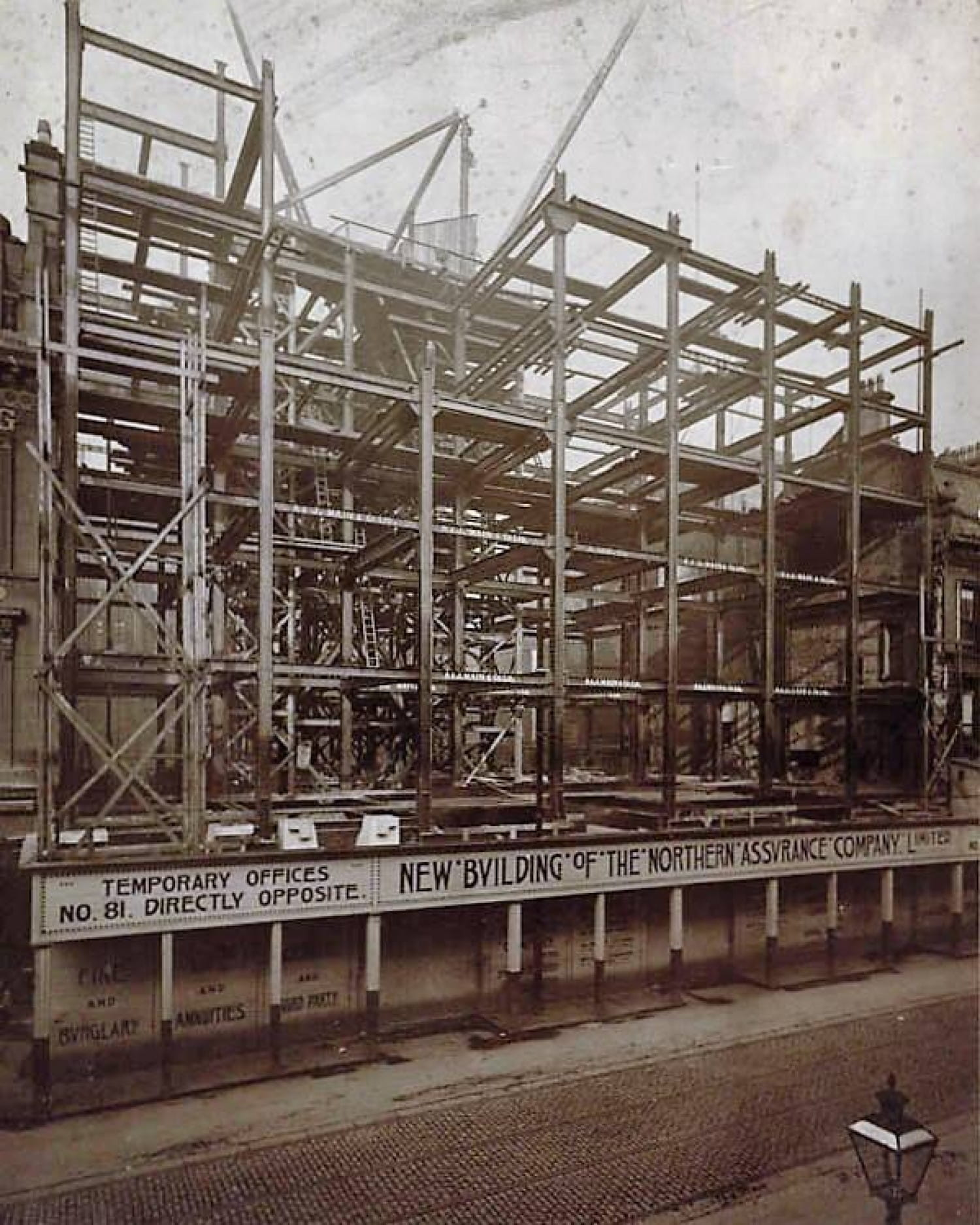 The Northern under construction. Note the Mackintosh-style typography used on the hoarding.  Picture: heritage.aviva.com
