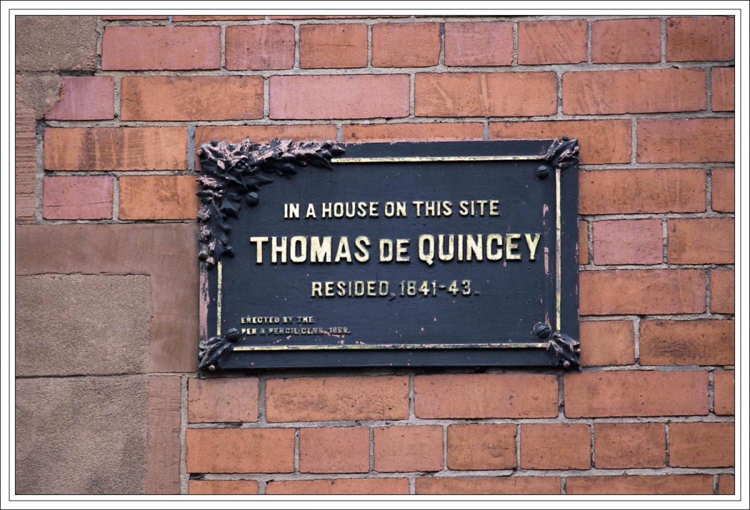 The plaque that marks the building